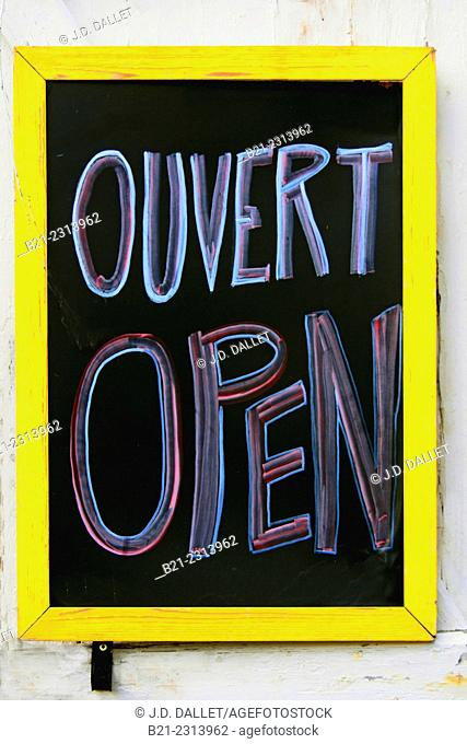 Open sign, Gironde, Aquitaine, France