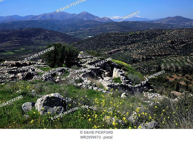 The ruins of the ancient city of Mycenae, UNESCO World Heritage Site, Peloponnese, Greece, Europe