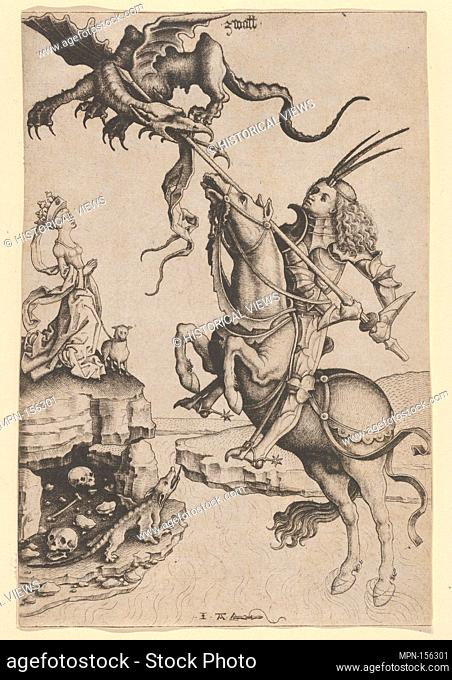 St. George. Artist: Master IAM of Zwolle (Netherlandish, active ca. 1470-95); Date: ca. 1480-90; Medium: Engraving; Classification: Prints; Credit Line: Gift of...