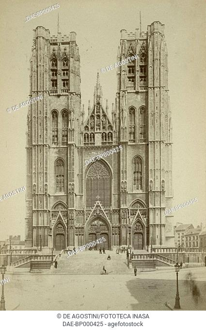 Cathedral of St Michael and St Gudula, Brussels, Belgium, photograph by H Cerf, Brussels, ca 1900