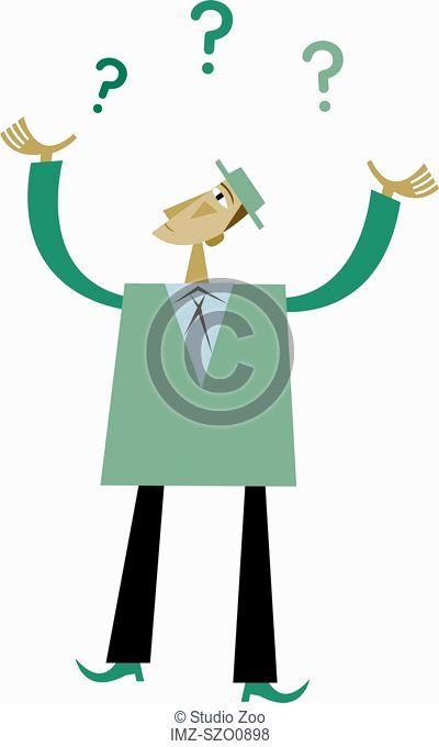 Illustration of a businessman juggling question marks