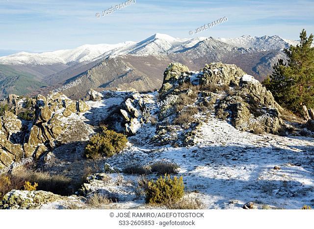 Sierra de Ayllón from The Bañaderos peak in the Sierra Norte. Montejo de la Sierra. Madrid. Spain. Europe