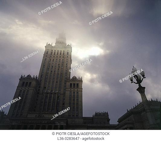 "Poland. Warsaw. Palace of Culture and Science built in 1955 as a ""gift from the Soviet people to the Polish people"