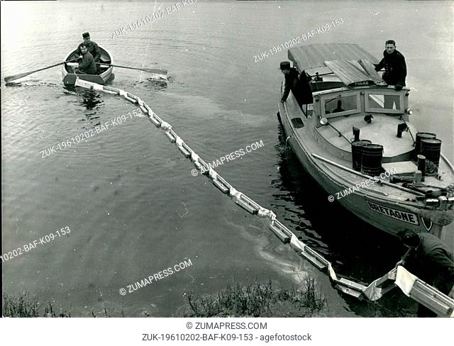 Feb. 02, 1961 - New Fire-Proof Barrage Demonstrated In Paris Port: A New Fire-Proof Floating Barrage Designed To Check The Spreading Of Burning Oil On Water...