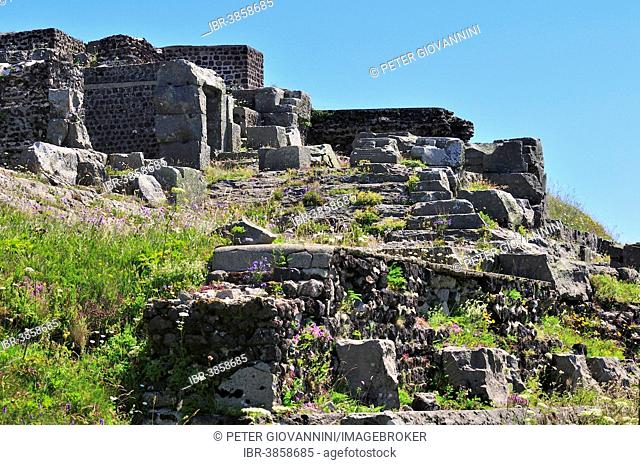 Ruins of a Roman Mercury Temple on the summit of the Puy de Dôme volcano, Puy-de-Dôme, France