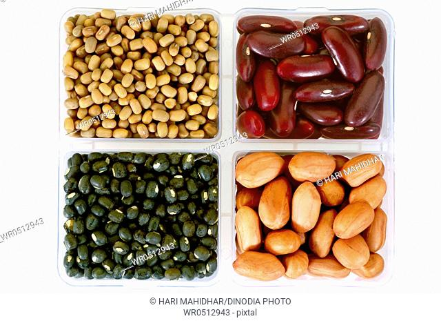 Pulses moath-beans kindey-beans black-lentils and peanut in square dish , India