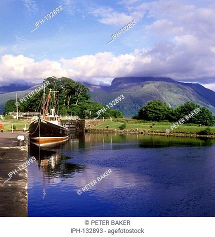 View from The Caledonian Canal at Corpach showing Ben Nevis
