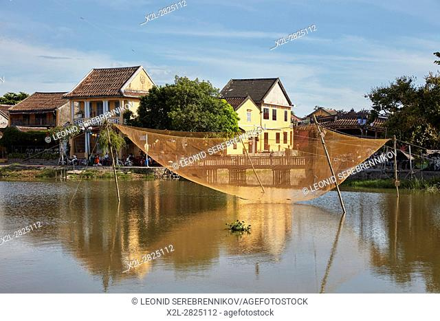 Stationary lift fishing net on the Thu Bon River. Hoi An, Quang Nam Province, Vietnam