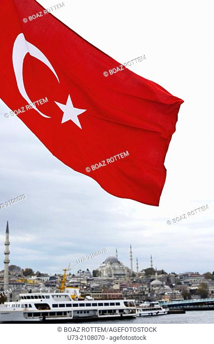 The Turkish flag by the Galata bridge in Istanbul