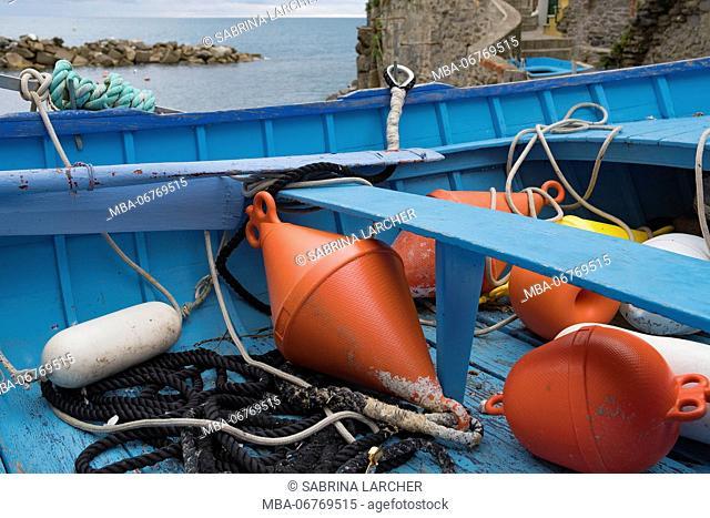 Europe, Italy, Liguria, Cinque Terre, Riomaggiore, fishing boat