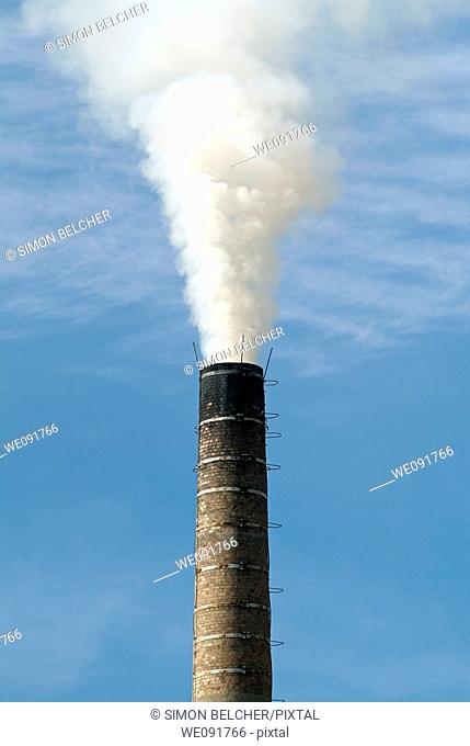 Factory Chimney Pumping Pollution Into the Atmosphere