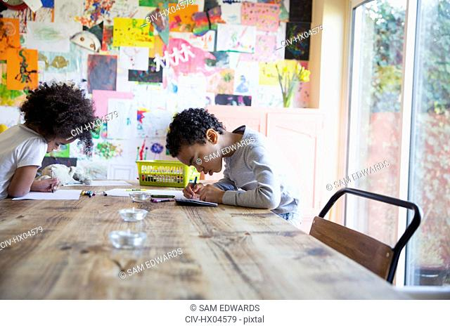 Focused brother and sister coloring at dining table