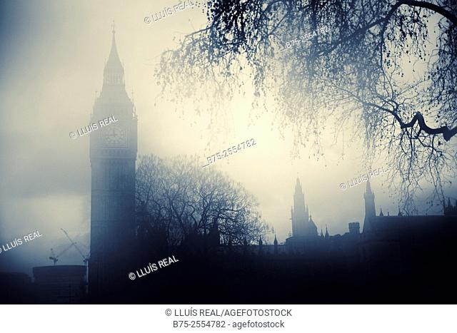 Big Ben in a foggy day. London, England, UK