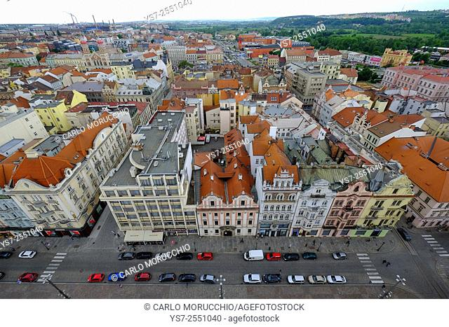Republic Square seen from the tower of St. Bartholomew's Cathedral, Pilsen, Czech Republic, Europe