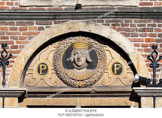 One of 14 busts of the Count of Flanders, Philip I of Castile / Philippus Formosus on 16th century house front De Gekroonde Hoofden, Ghent, Belgium