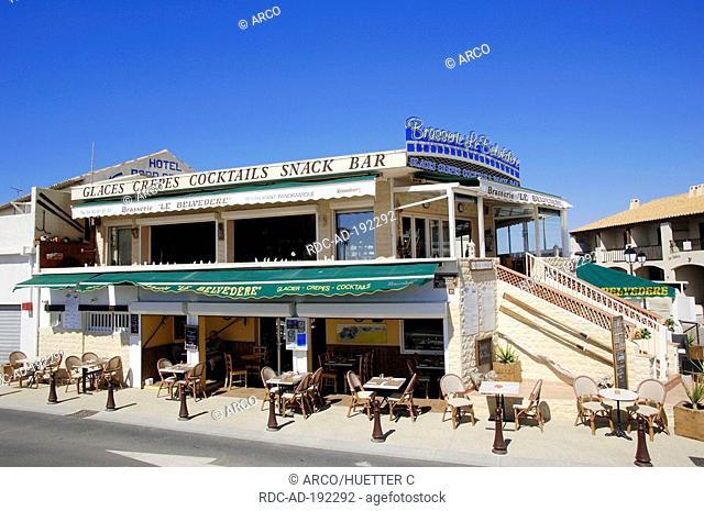 Restaurant 'Brasserie Le Belvedere', Les Saintes-Maries-de-la-Mer, Camargue, Bouches-du-Rhone, Provence-Alpes-Cote d'Azur, Southern France