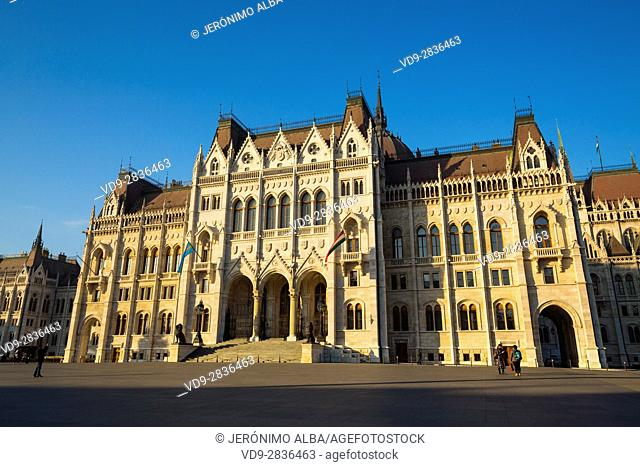 Hungarian Parliament Building, Neogothic Style, National Assembly. Budapest Hungary, Southeast Europe