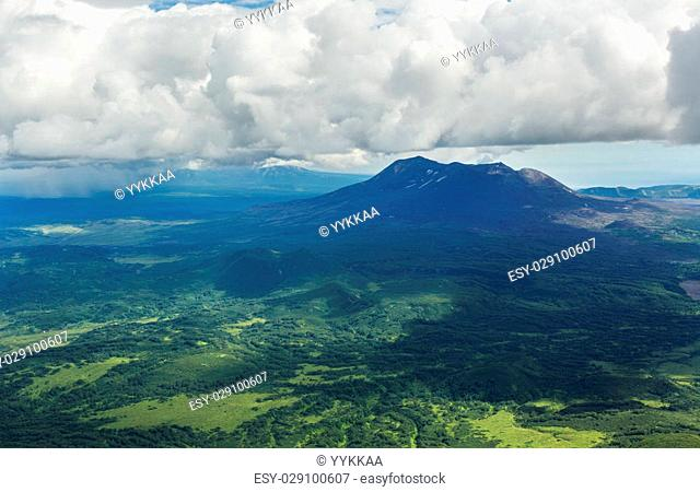 Maly Semyachik is a stratovolcano. Kronotsky Nature Reserve on Kamchatka Peninsula. View from helicopter
