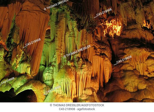 Stalactites in Gruta de las Maravillas, the largest cave in Spain. Aracena. Huelva province. Spain
