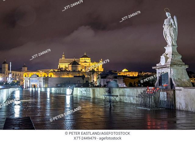 Night on the Roman bridge looking towards the Mezquita, cathedral and historic centre of Cordoba, Andalucia, Spain
