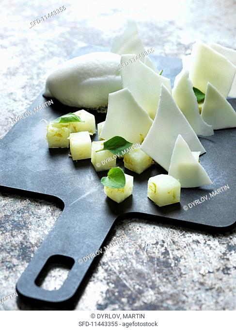 Kohlrabi with lime and coconut ice cream