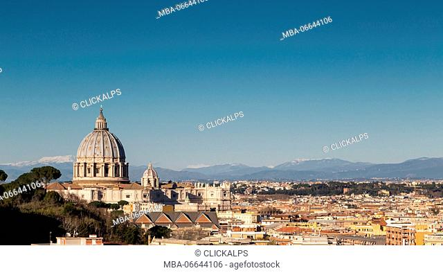 Europe, Italy, Lazio, Rome. Dome of St. Peter's basilica