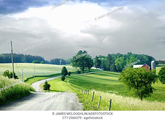Landscape, country road, farm
