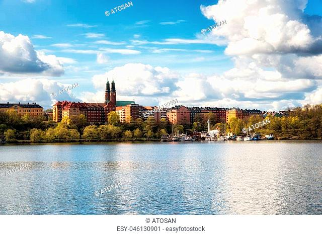 Sodermalm district and Hogalid Church, Stockholm, Sweden