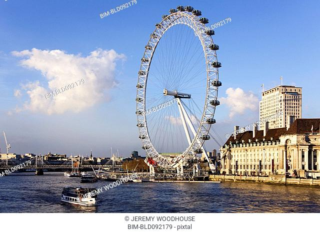 London Eye ferris wheel and river