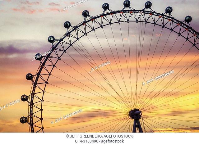United Kingdom Great Britain England, London, Lambeth South Bank, London Eye, giant Ferris wheel, observation wheel, attraction, Marks Barfield Architects