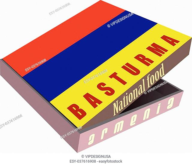 Basturma - Armenian National dish of meat in a cardboard box for shipping. Vector illustration