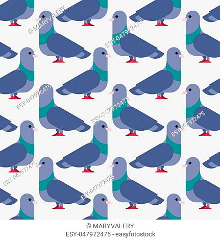 Pigeon seamless pattern. Dove background. Vector illustration