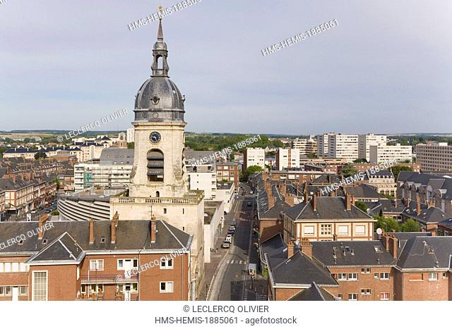France, Somme, Amiens, Amiens Belfry tower listed as World Heritage by UNESCO (aerial view)