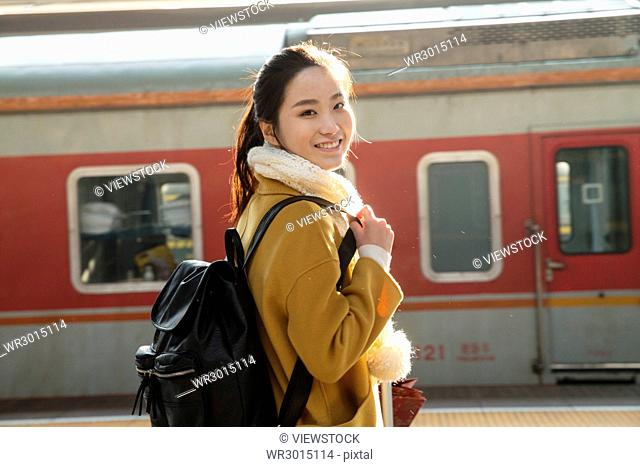 Young women at the station platform