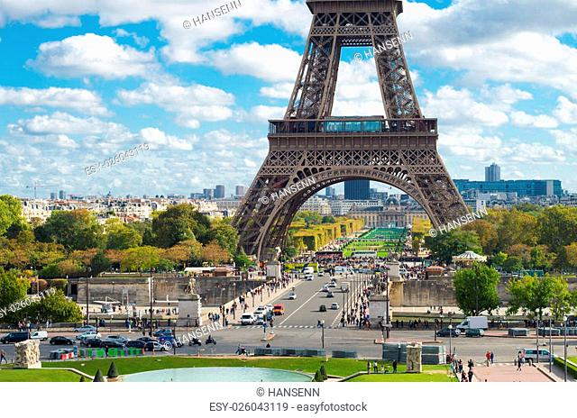 lower part of the Eiffel tower in Paris, France. Seen from the Trocadero Square