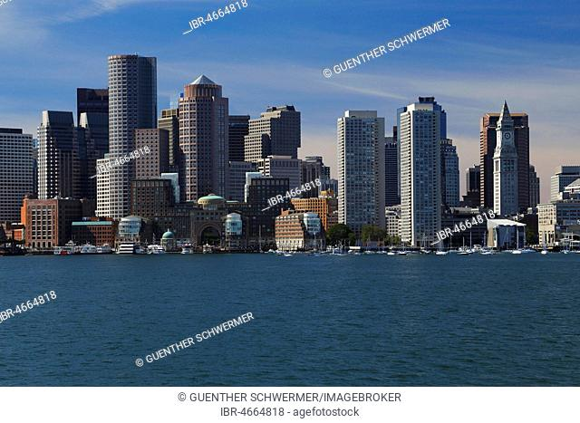View from Boston Harbour on City Skyline, Boston, Massachusetts, USA