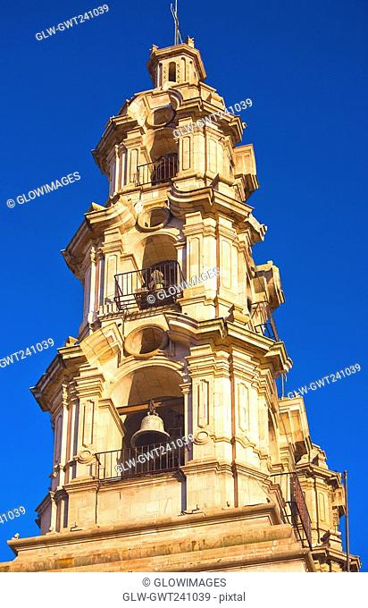 Low angle view of the bell tower of a church, Catedral De Aguascalientes, Mexico