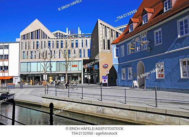 New buildings on the Schrannenplatz in Memmingen / Bavaria