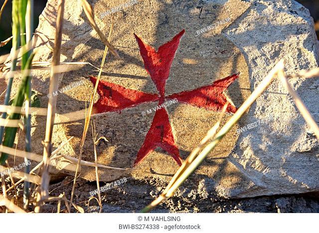 red Knight Templar cross on a stone, Spain, Leon, Kastilien, Manjarin