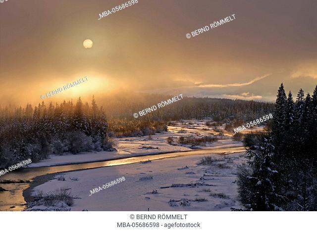 Germany, Bavaria, Upper Bavaria, Tölzer country, Isar angle, upper Isar valley, view at the Isar