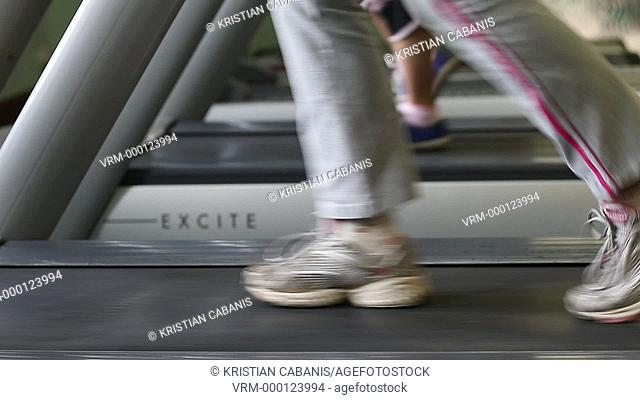 Women running on a treadmill in the fitness studio