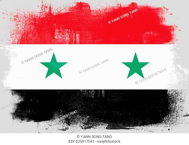 Flag of Syria painted with brush on solid background
