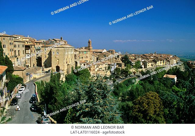 Montepulciano is a medieval and Renaissance hill town and commune in southern Tuscany. It is at the heart of the region's food and wine industry