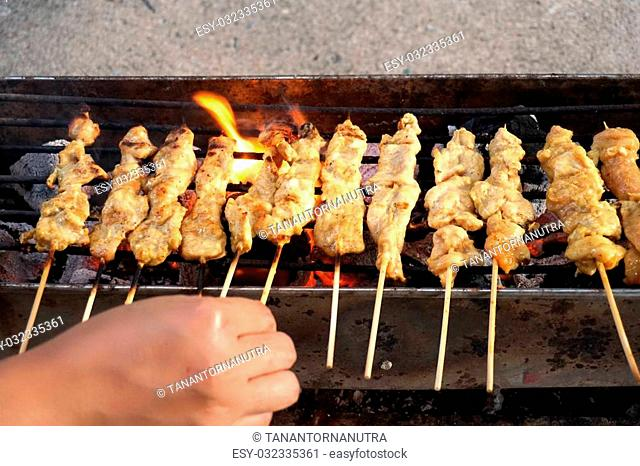 grilled Pork Satay in Thai food style