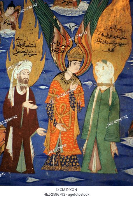 The Prophet Mohammed (c. 570 - c. 8 June 632) (on the right, in the green cloak) ascending to heaven, with the Prophet Moses on the left and the angel Gabriel...