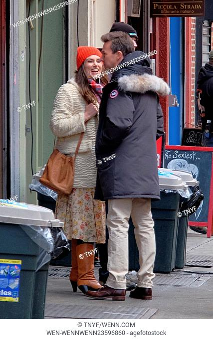 Stars on the set of 'Collateral Beauty,' filming in Manhattan Featuring: Keira Knightley, Edward Norton Where: Manhattan, New York