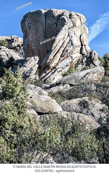 Cliffs at Fig Tree hill in the Pedriza Regional Park. Manzanares el Real. Madrid. Spain. Europe