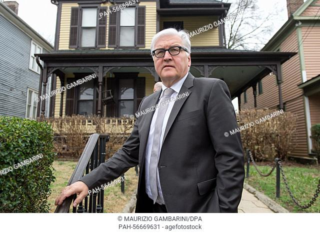 German Foreign Minister Frank-Walter Steinmeier (SPD) stands in front of the former parental residence of civil rights leader Martin Luther King as he pays a...