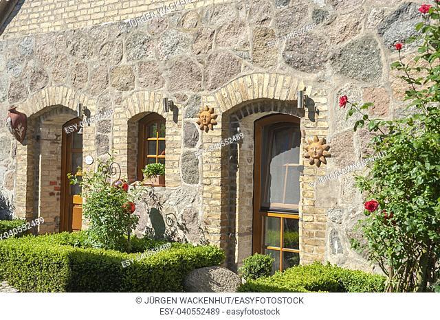 Facade of a historic house at Cape Arkona, Putgarten, Rügen, Mecklenburg-Vorpommern, Germany, Europe