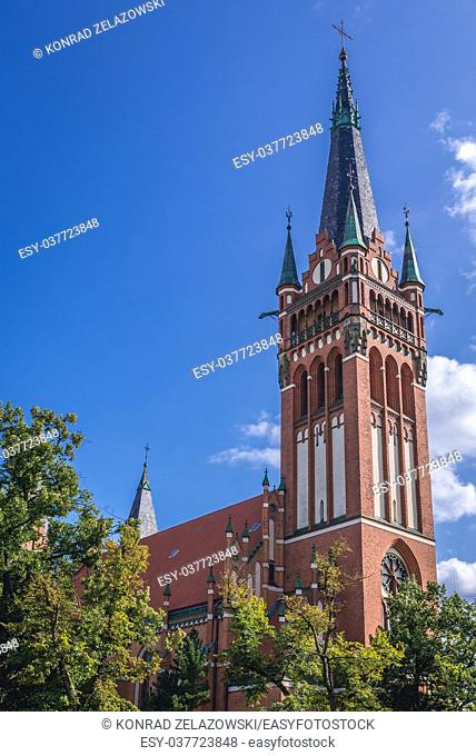 Bell tower of early 20th century Neo-Gothic Roman Catholic Church of Sacred Heart of Jesus in Olsztyn city in Warmian-Masurian Voivodeship of Poland